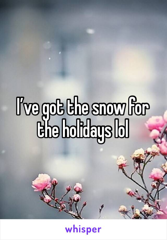 I've got the snow for the holidays lol