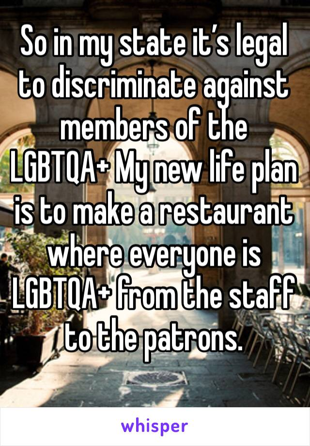 So in my state it's legal to discriminate against members of the LGBTQA+ My new life plan is to make a restaurant where everyone is LGBTQA+ from the staff to the patrons.
