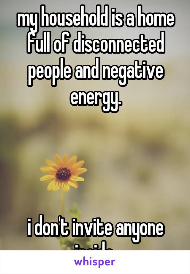 my household is a home full of disconnected people and negative energy.     i don't invite anyone inside.