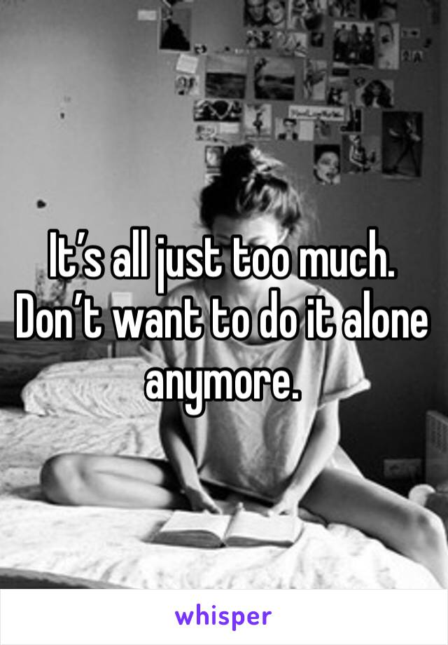 It's all just too much. Don't want to do it alone anymore.