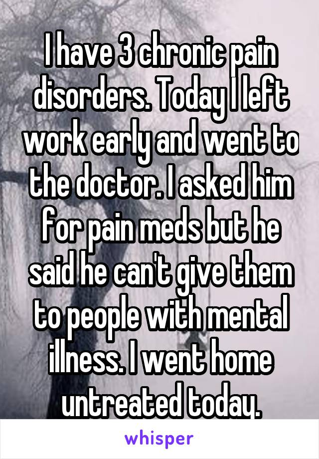 I have 3 chronic pain disorders. Today I left work early and went to the doctor. I asked him for pain meds but he said he can't give them to people with mental illness. I went home untreated today.