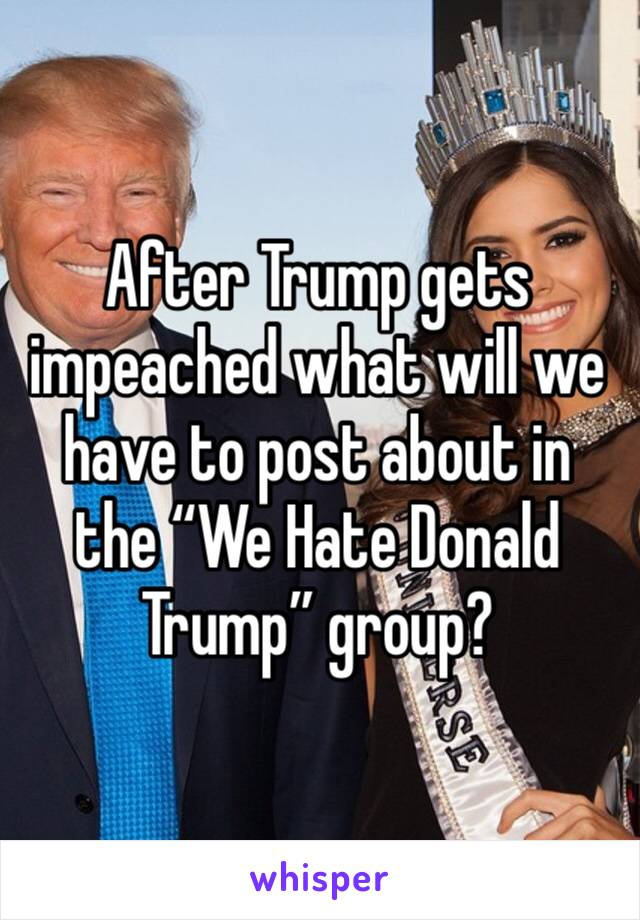 """After Trump gets impeached what will we have to post about in the """"We Hate Donald Trump"""" group?"""