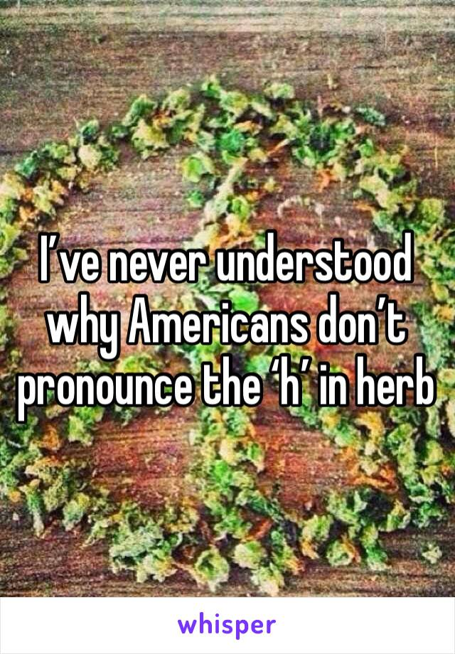 I've never understood why Americans don't pronounce the 'h' in herb