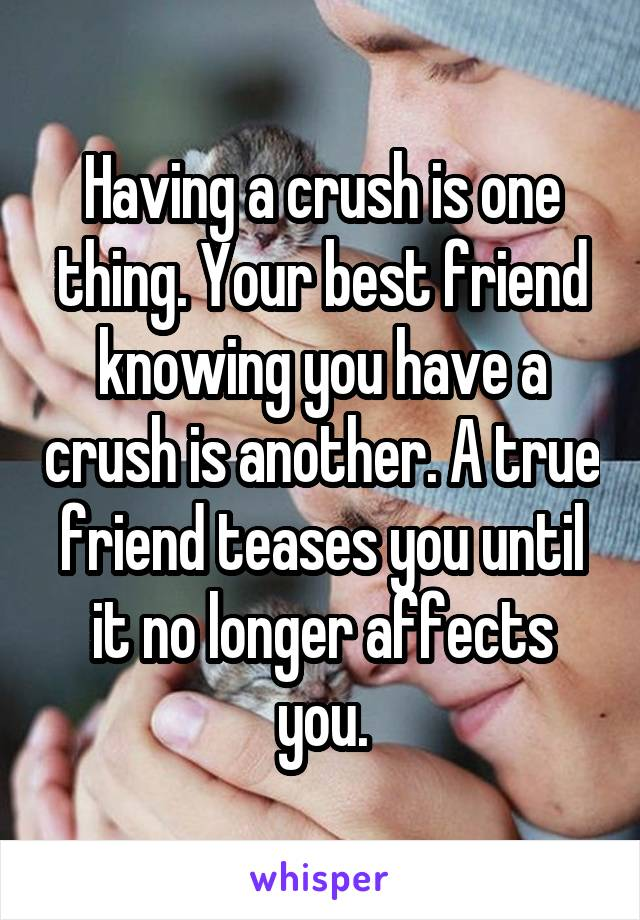 Having a crush is one thing. Your best friend knowing you have a crush is another. A true friend teases you until it no longer affects you.