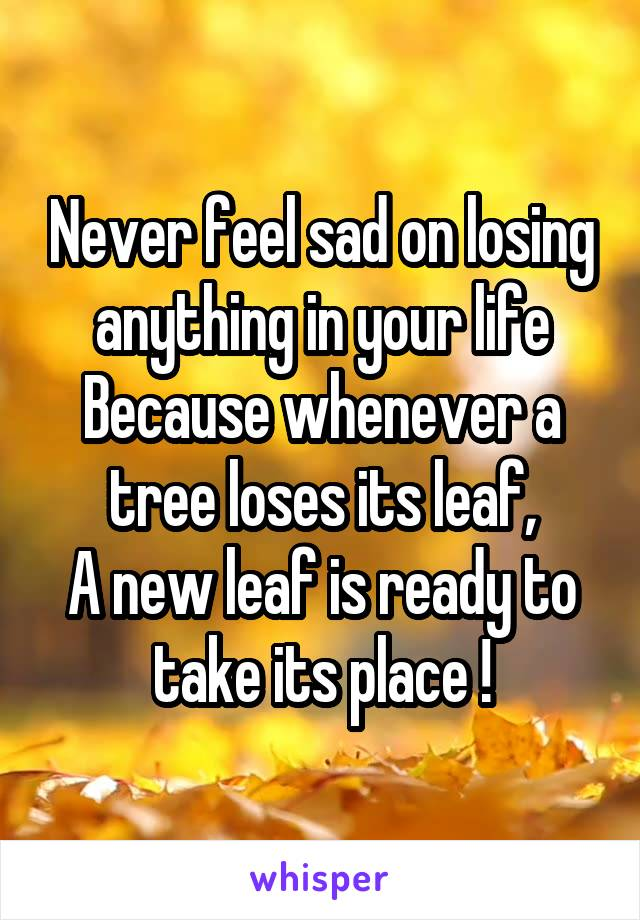 Never feel sad on losing anything in your life Because whenever a tree loses its leaf, A new leaf is ready to take its place !