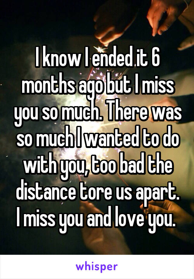 I know I ended it 6 months ago but I miss you so much. There was so much I wanted to do with you, too bad the distance tore us apart. I miss you and love you.