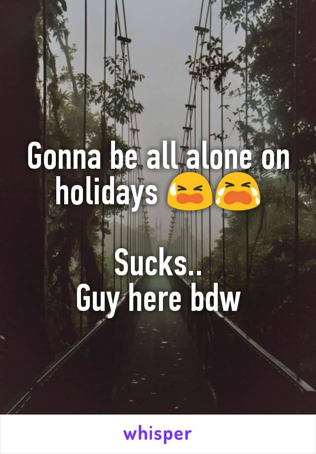 Gonna be all alone on holidays 😫😭  Sucks.. Guy here bdw