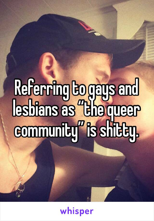 """Referring to gays and lesbians as """"the queer community"""" is shitty."""