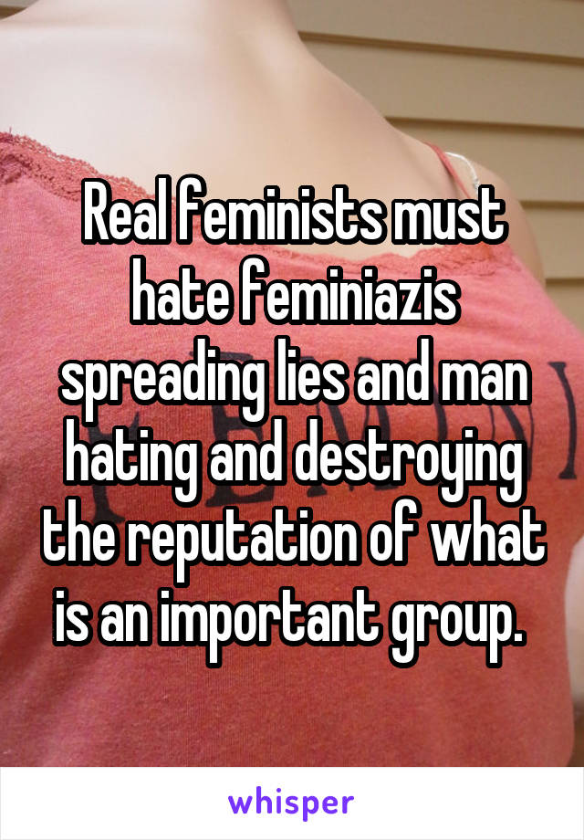 Real feminists must hate feminiazis spreading lies and man hating and destroying the reputation of what is an important group.