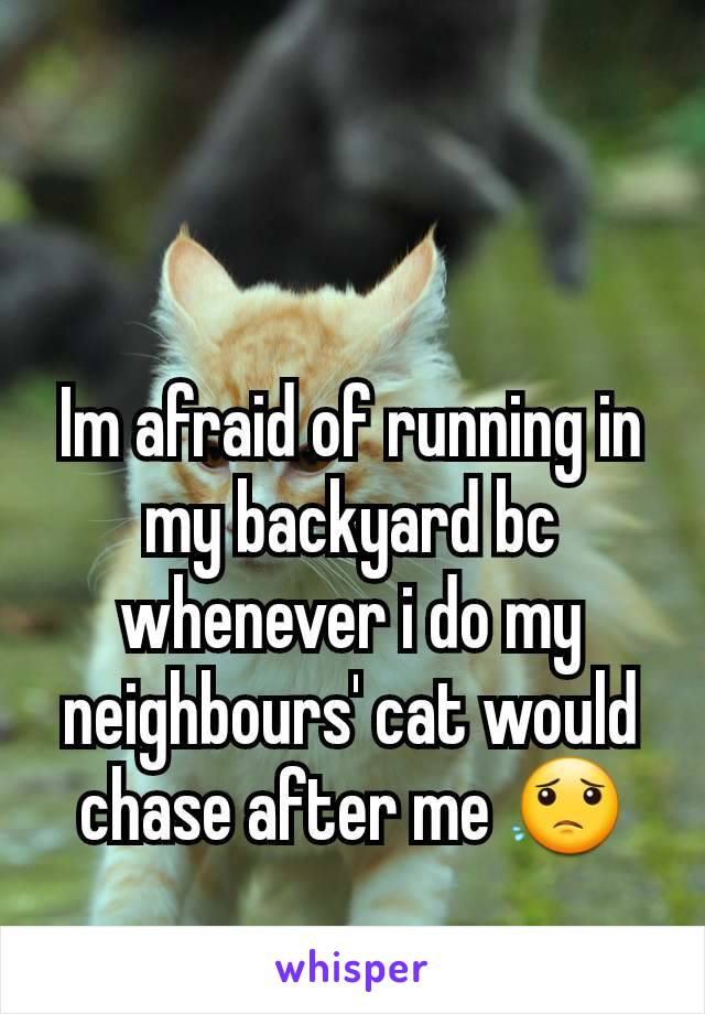 Im afraid of running in my backyard bc whenever i do my neighbours' cat would chase after me 😟