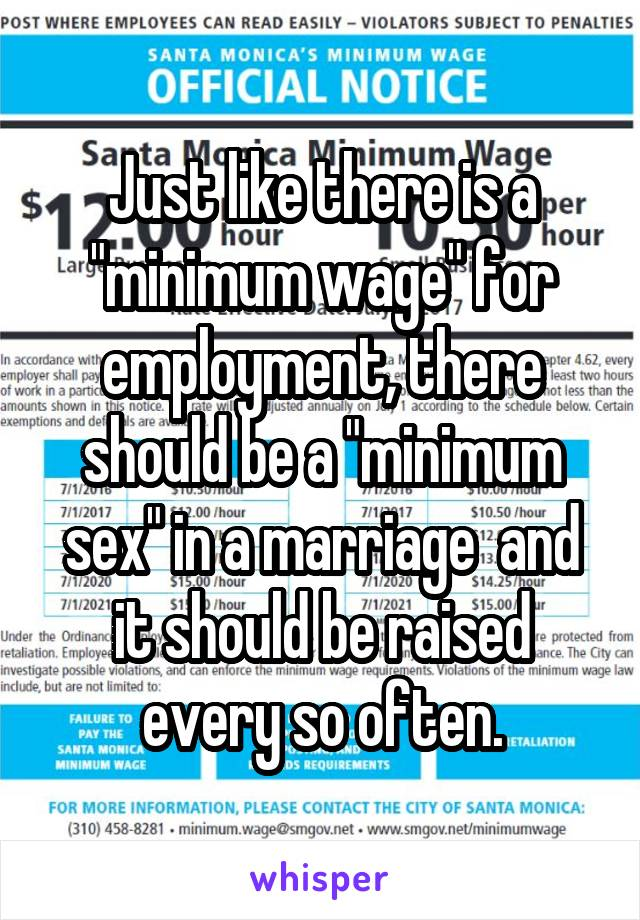 "Just like there is a ""minimum wage"" for employment, there should be a ""minimum sex"" in a marriage  and it should be raised every so often."