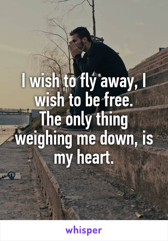 I wish to fly away, I wish to be free. The only thing weighing me down, is my heart.