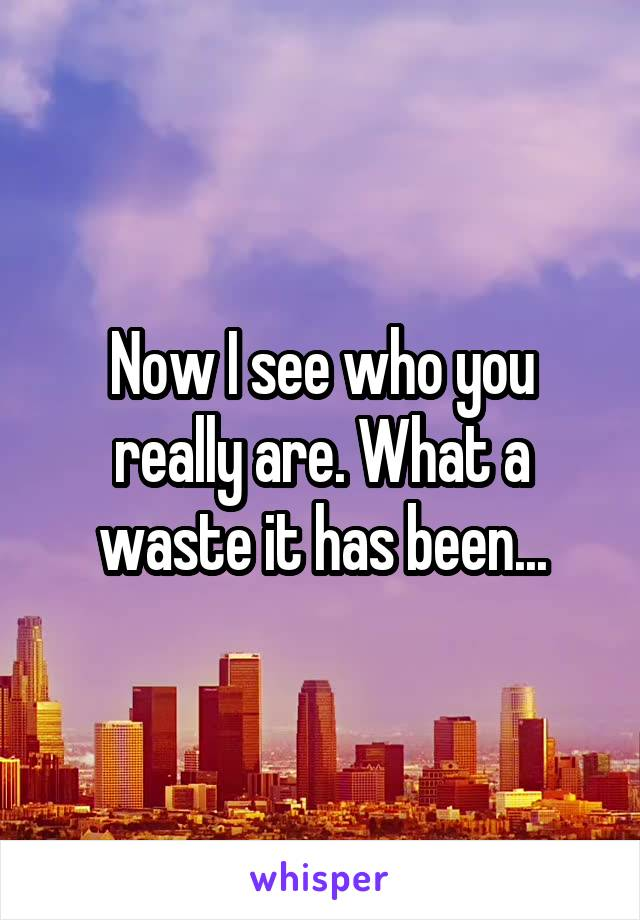 Now I see who you really are. What a waste it has been...