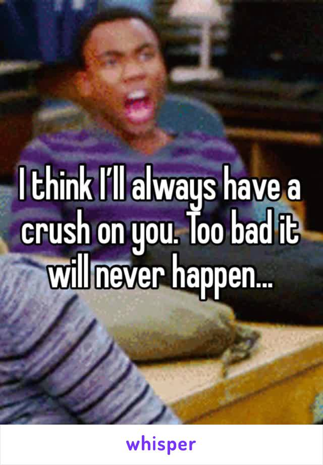 I think I'll always have a crush on you. Too bad it will never happen...