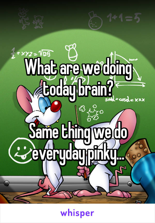 What are we doing today brain?  Same thing we do everyday pinky...
