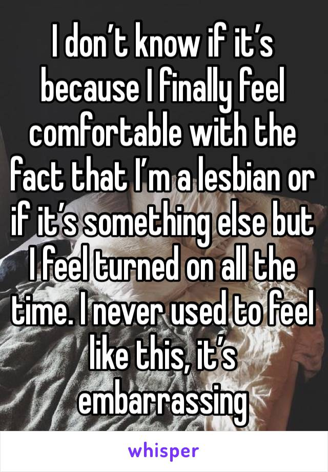 I don't know if it's because I finally feel comfortable with the fact that I'm a lesbian or if it's something else but I feel turned on all the time. I never used to feel like this, it's embarrassing