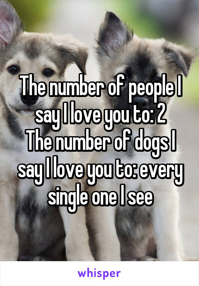 The number of people I say I love you to: 2 The number of dogs I say I love you to: every single one I see