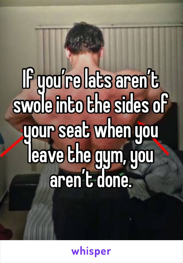 If you're lats aren't swole into the sides of your seat when you leave the gym, you aren't done.