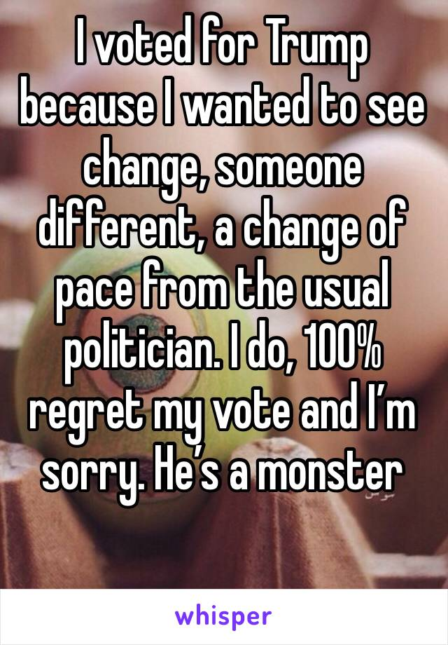 I voted for Trump because I wanted to see change, someone different, a change of pace from the usual politician. I do, 100% regret my vote and I'm sorry. He's a monster