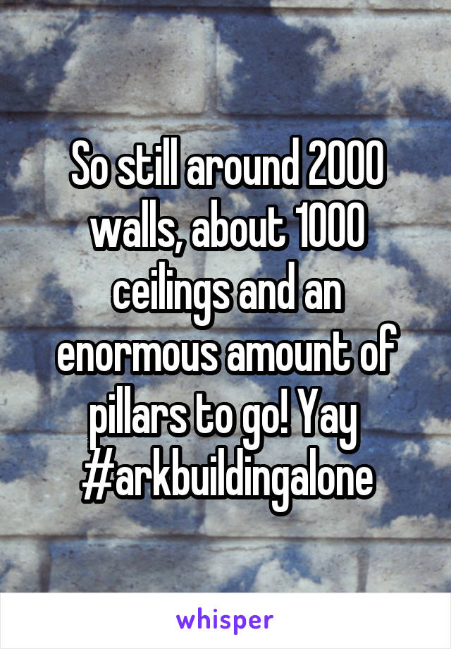 So still around 2000 walls, about 1000 ceilings and an enormous amount of pillars to go! Yay  #arkbuildingalone