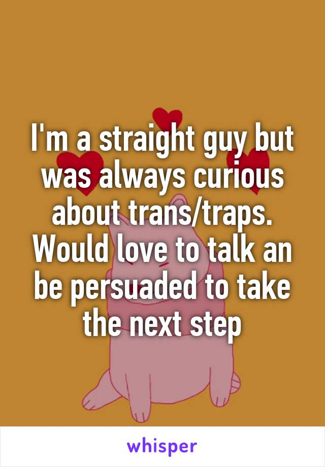 I'm a straight guy but was always curious about trans/traps. Would love to talk an be persuaded to take the next step