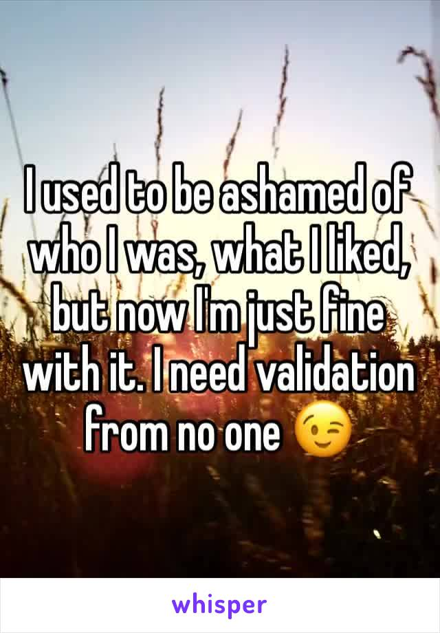I used to be ashamed of who I was, what I liked, but now I'm just fine with it. I need validation from no one 😉