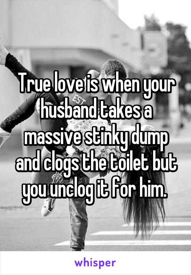True love is when your husband takes a massive stinky dump and clogs the toilet but you unclog it for him.