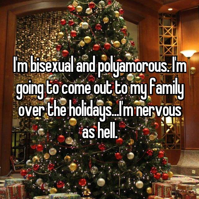I'm bisexual and polyamorous. I'm going to come out to my family over the holidays...I'm nervous as hell.