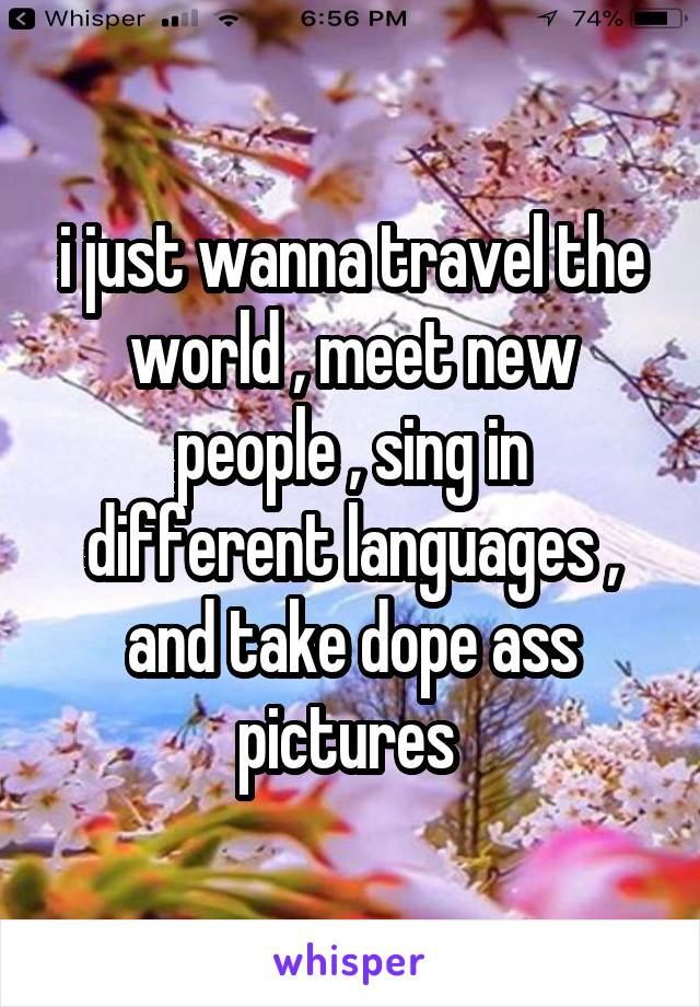 i just wanna travel the world , meet new people , sing in different languages , and take dope ass pictures