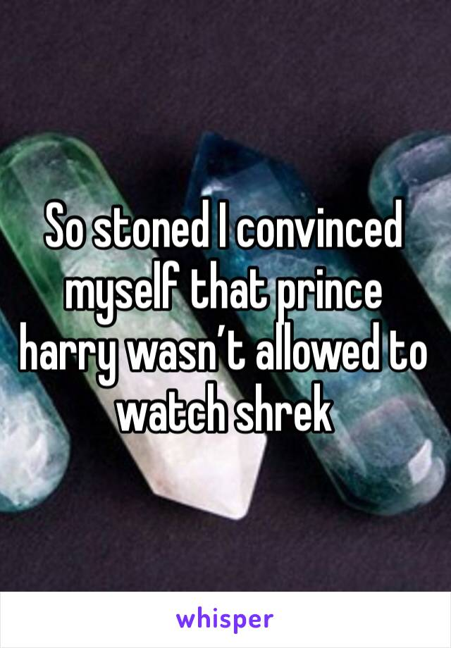 So stoned I convinced myself that prince harry wasn't allowed to watch shrek