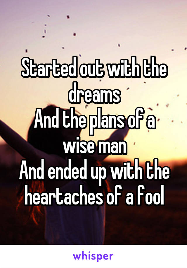 Started out with the dreams And the plans of a wise man And ended up with the heartaches of a fool