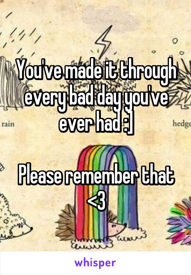 You've made it through every bad day you've ever had :]  Please remember that <3