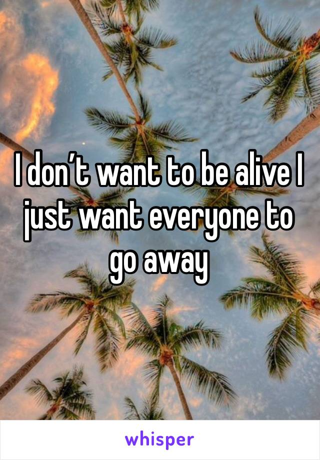 I don't want to be alive I just want everyone to go away