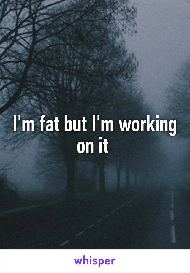 I'm fat but I'm working on it