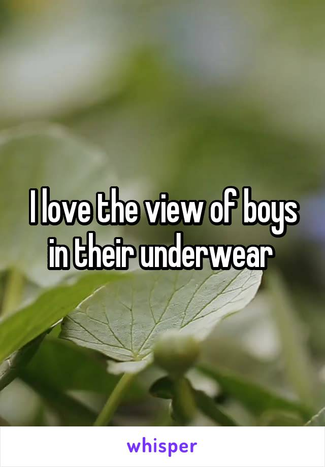 I love the view of boys in their underwear