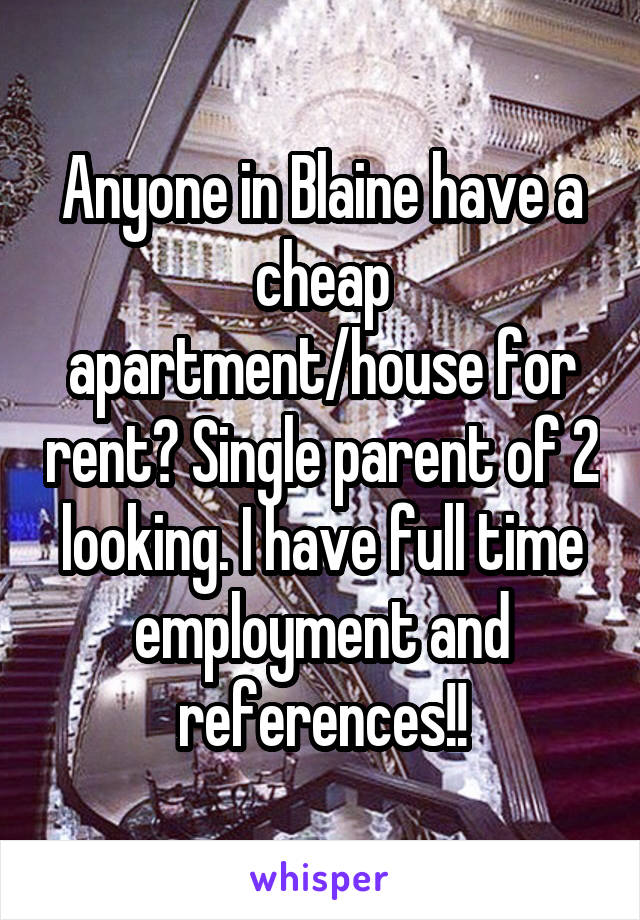 Anyone in Blaine have a cheap apartment/house for rent? Single parent of 2 looking. I have full time employment and references!!