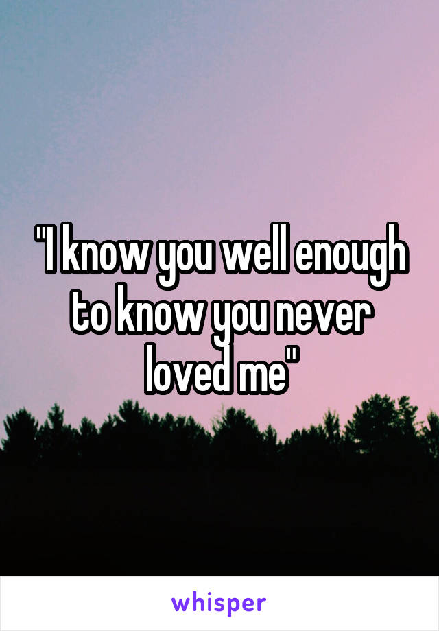"""""""I know you well enough to know you never loved me"""""""