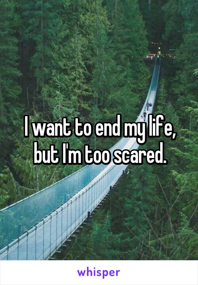 I want to end my life, but I'm too scared.