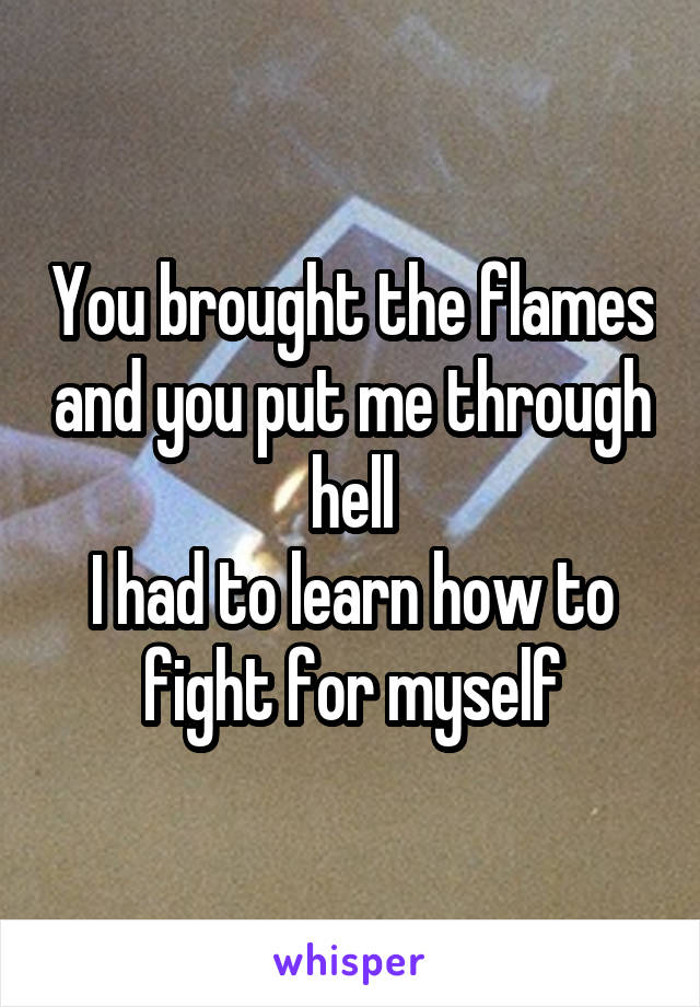 You brought the flames and you put me through hell I had to learn how to fight for myself