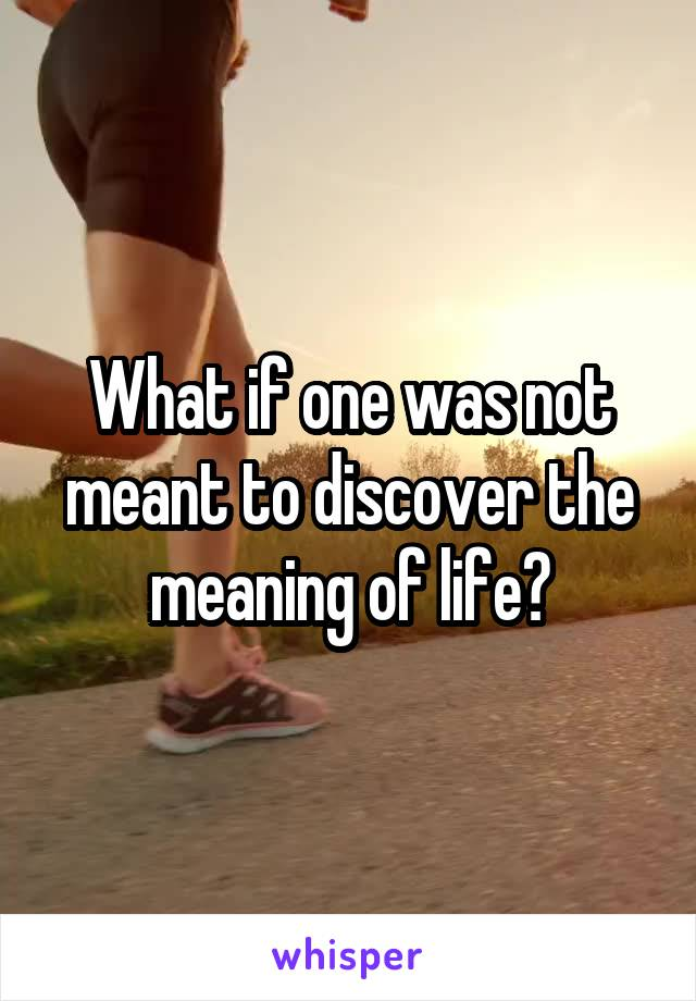 What if one was not meant to discover the meaning of life?