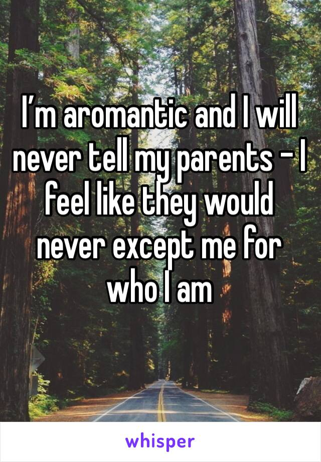 I'm aromantic and I will never tell my parents - I feel like they would never except me for who I am
