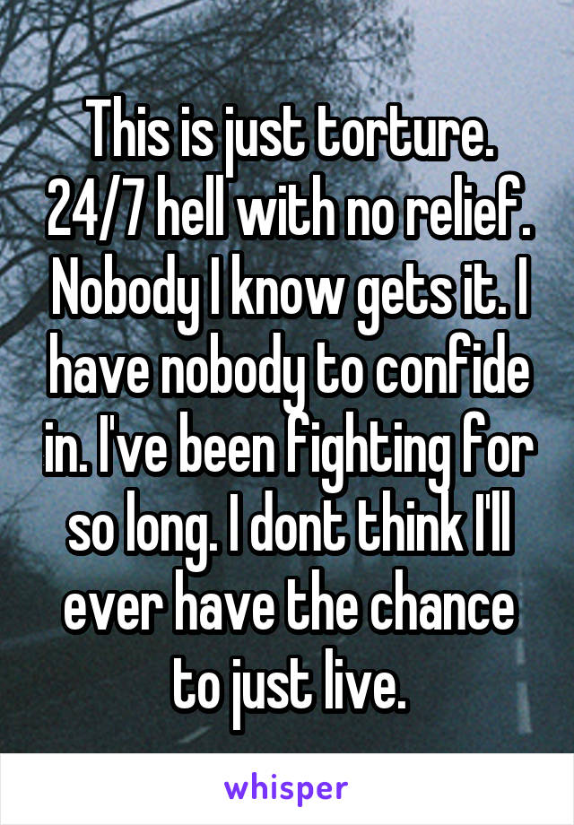 This is just torture. 24/7 hell with no relief. Nobody I know gets it. I have nobody to confide in. I've been fighting for so long. I dont think I'll ever have the chance to just live.