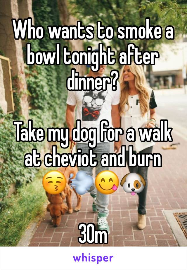 Who wants to smoke a bowl tonight after dinner?   Take my dog for a walk at cheviot and burn  😚💨😋🐶  30m