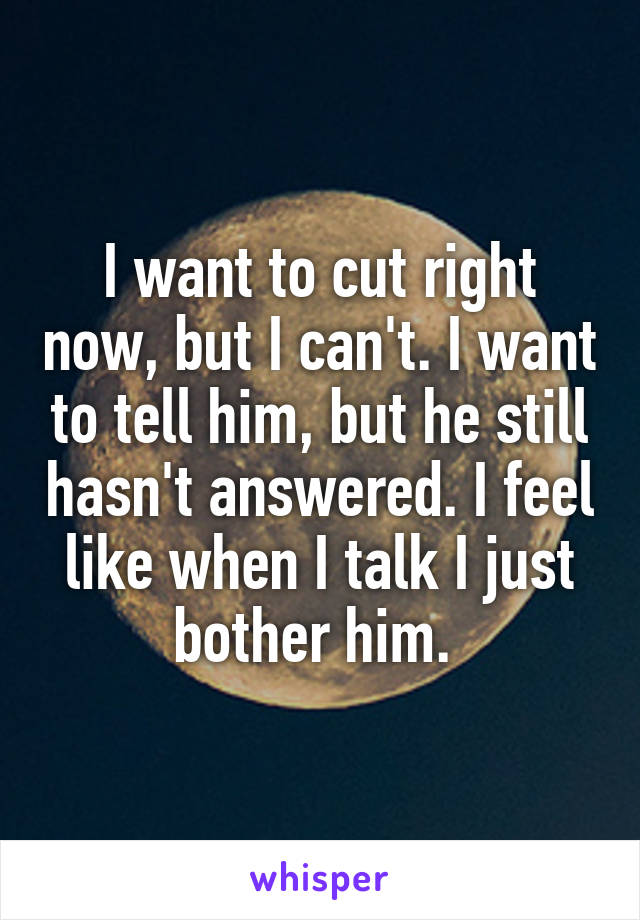I want to cut right now, but I can't. I want to tell him, but he still hasn't answered. I feel like when I talk I just bother him.
