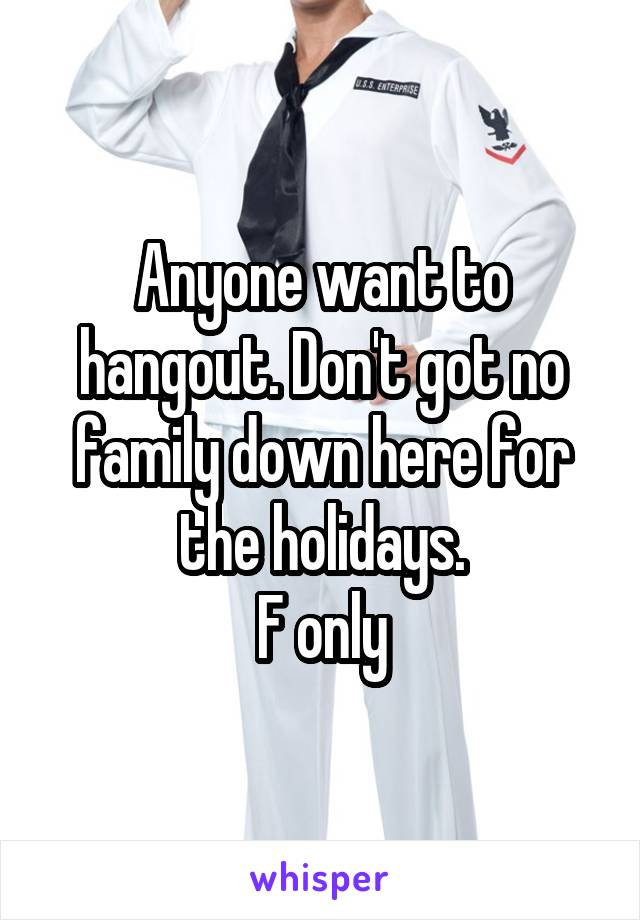 Anyone want to hangout. Don't got no family down here for the holidays. F only