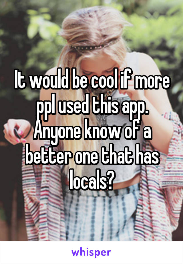 It would be cool if more ppl used this app. Anyone know of a better one that has locals?