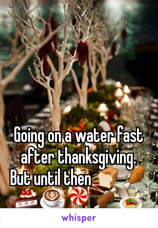 Going on a water fast after thanksgiving. But until then 🍞🍗🍰☕🍭🍖🍝