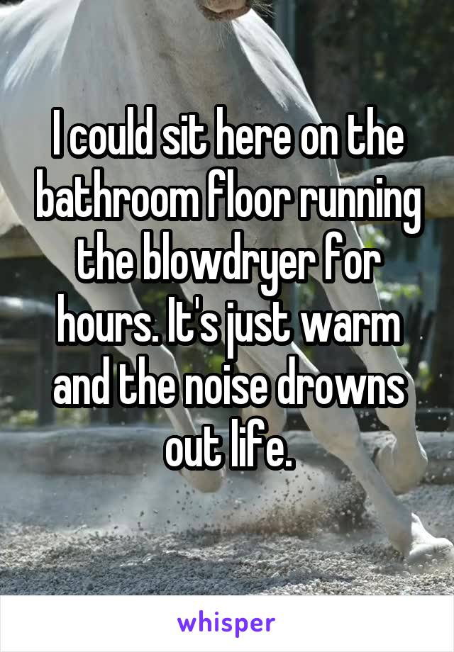 I could sit here on the bathroom floor running the blowdryer for hours. It's just warm and the noise drowns out life.