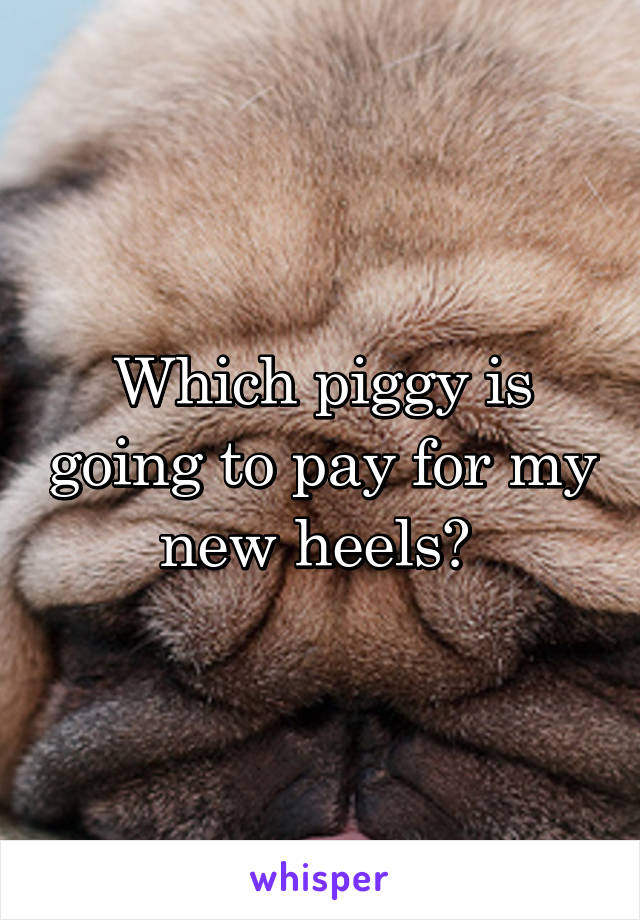 Which piggy is going to pay for my new heels?