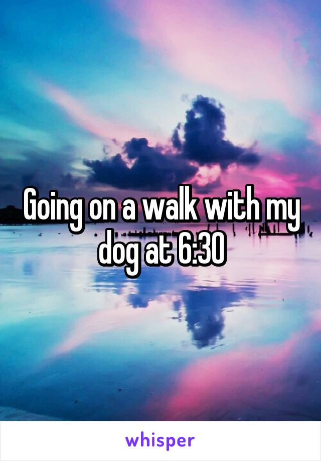 Going on a walk with my dog at 6:30